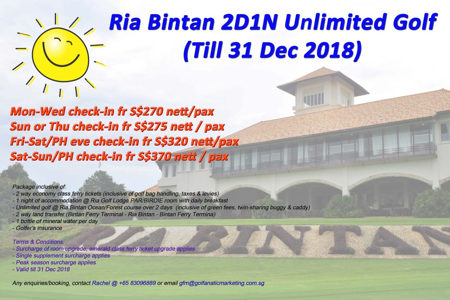 2D1N Ria Bintan Stay & Play Unlimited Golf Package (Till 31